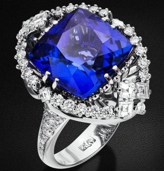 колечко с синим камнем