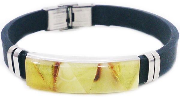 каучуковый браслет с янтарём