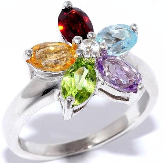 кольцо с разными камня
