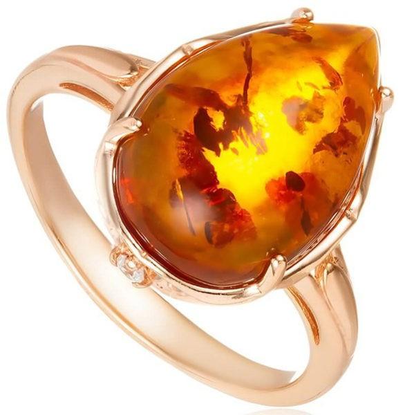 золотые кольцо с янтарем