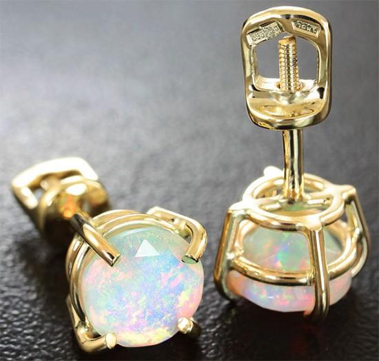 золотые серьги с опалом
